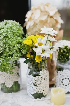 flowers in mason jars