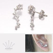 Swarovski Crystal Big Dipper Star Constellation Curved Sweep Stud Earrings