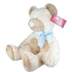 Plush Stuffed Teddy Bear w/ Rattle Sound in Blue by Russ Berrie