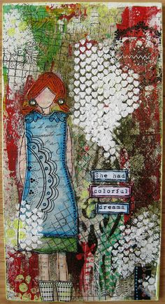 (mixed media art journal page idea: 'she had colorful dreams'. Mixed Media Collage, Mixed Media Canvas, Collage Art, Canvas Collage, Kunstjournal Inspiration, Art Journal Inspiration, Art Journal Pages, Art Journals, Collages