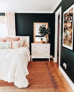 Really really enjoy our new bedroom layout but man I miss my thick black shiplap being behind the bed. Maybe we just need to add more 👀 also trying to decide if the curtains are too spring / summer for all year? I know some people swap them as seasonal d Bedroom Inspo, Home Decor Bedroom, Bedroom Ideas, Bedroom Curtains, Bedroom Colors, Bedroom Designs, Bedroom Furniture, Black Furniture, Bedroom Art
