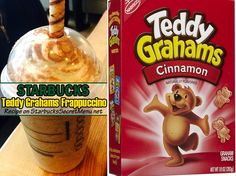 Teddy graham frappuccino - creme base frap, add graham cracker syrup, blend in graham cracker topping and cinnamon dolce sprinkles, top with whipped cream. Starbucks Unicorn Frappuccino Recipe, Starbucks Cookies, Starbucks Secret Menu Drinks, Starbucks Coffee, Mocha Drink, Cookie Crisp, Teddy Grahams, Cinnamon Dolce, Coffee Recipes