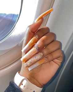 Bling Acrylic Nails, Aycrlic Nails, Best Acrylic Nails, Summer Acrylic Nails, Acrylic Nail Designs, Swag Nails, Hair And Nails, Acrylic Nails Coffin Short, Coffin Nails