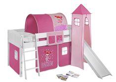 Kinderbett, Holz, zauberfee, rosa Hochbett | Mitwachsendes Systembett zum Spielen, Schlafen und Träumen. Dieses halbhohe, zeitlose Spielbett IDA mit Turm und Rutsche der Marke LILOKIDS ist der Liebling aller Kinder und Eltern. Mit wenigen, einfachen Handgriffen kann man das weiße Bett aus Kiefer Massivholz in ein Einzelbett oder mit einem zusätzlich erhältlichen Umbausatz in ein Hochbett, L-Etagenbett oder Etagenbett umbauen. So ist dieses Bett auch später noch als Jugendbett richtig…