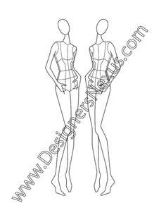 Female Fashion Croqui Three-Quarter Casual Pose V8 Hands in Pockets