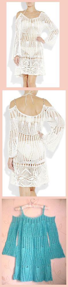 Crochet camada de renda vestido de praia.