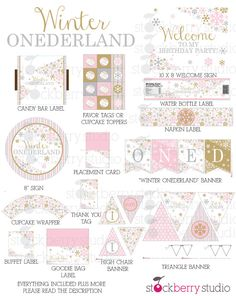 Winter Onederland Party Decorations Pink, Gold and Gray Snowflake Design Matching invitation & other matching printables found here: