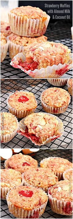 Strawberry Muffins with Almond Milk and Coconut Oil are soft, moist and full of strawberry flavor! Lightened up, these muffins are a great start to your day!