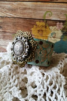 BRONZE & SILVER Berry Concho Filigree TURQUOISE Leather Cuff Bracelet: #Gypsy Cowgirl #Bohemian Chic #Rustic Glam #Romantic #Country #Boho by BellaNotteDesigns on Etsy
