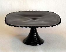 Vintage square BLACK AMETHYST GLASS Diamond Point Pedestal Cake Plate Stand