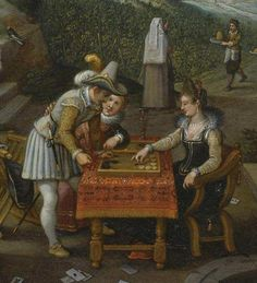 Detail - The Property of a Lady by Sebastiaan Vrancx. It's right at the turn of the century. backgammon!