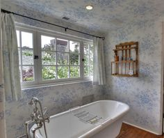 By the Way Cottage in Carmel California (28) Stunning!  Love the soft blue and white and the wood shelf