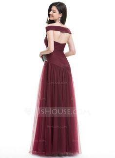 A-linjainen/Prinsessa Off--Shoulder Lattiaa hipova pituus Tylli Tanssiaismekot jossa Rypytys Helmikoristelu Paljetit (018112787)