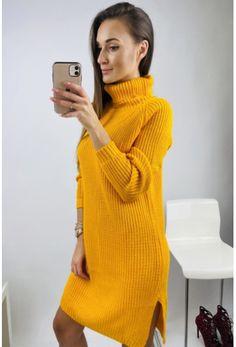Vo veľkosti uni Ti ponúkame nádherné svetrové šaty žlté Uni, Turtle Neck, Sweaters, Dresses, Fashion, Vestidos, Moda, Fashion Styles, Sweater