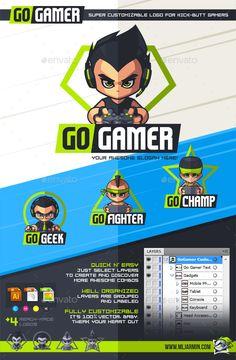 GoGamer Customizable Logo Design Template - Humans Logo Templates Vector EPS, AI Illustrator. Download here: https://graphicriver.net/item/gogamer-customizable-logo/16054804?ref=yinkira