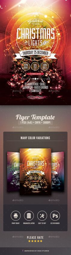 Christmas Lights Flyer — Photoshop PSD #poster #layout • Available here → https://graphicriver.net/item/christmas-lights-flyer/9616581?ref=pxcr