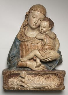 Madonna and Child, c. 1450. circle of Lorenzo Ghiberti (Italian, 1378-1455).  polychromed terracotta.