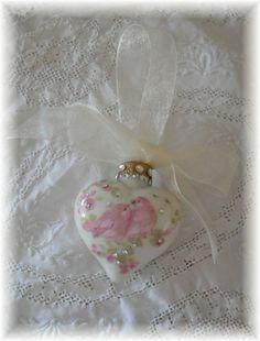 Pink Lovebirds Jeweled Glass Heart Ornament