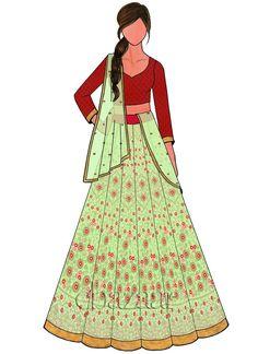 Light Green Embroidered Art Silk Kali Lehenga Set