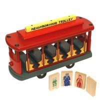 """Mr. Roger's Trolley - wood: Beautiful hardwood replica of the original with 4 wooden play pieces, King Friday, Queen Sara, Daniel Tiger and a blank for a DIY. Nontoxic paints. 11"""" x 3 1/2"""" x 6 1/2"""""""
