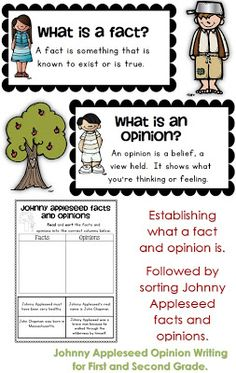 Johnny Appleseed Opinion Writing First and Second Grade