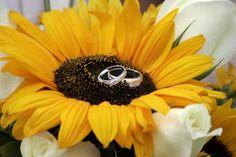 sunflowers, wedding flowers, wedding rings,