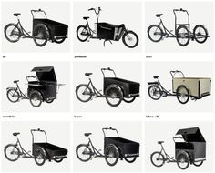 Different types of Christiania bikes from Copenhagen!