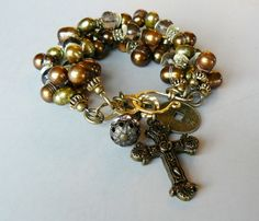SALE+Autumn+with+Pearls+Smoky+Quartz+Charms+and+by+pmdesigns09,+$74.00