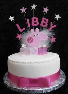 HANDMADE BIRTHDAY NAME/AGE CAKE TOPPER PEPPA PIG                                                                                                                                                                                 Más