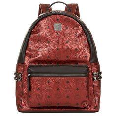 MCM Medium Stark Backpack ($890) ❤ liked on Polyvore featuring bags, backpacks, laptop rucksack, mcm backpack, mcm, metallic backpack and laptop pocket backpack