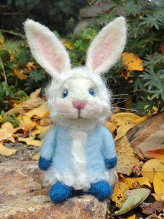 Needle Felted Rabbit  Powder by TheWhimsicalWarren on Etsy, $65.00