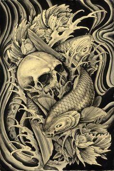 koi and skull tattoo art