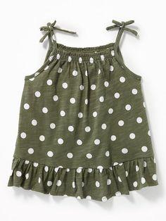 Tie-Shoulder Peplum Tank for Toddler Girls