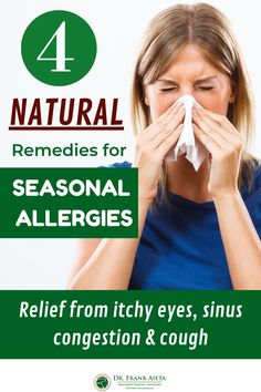 Are you suffering from Seasonal Allergies? Dr. Aieta shares 4 Natural Supplements to not only relieve your symptoms, but to boost your immune system! Learn more at draieta.com #draieta #allergyrelief #seasonalallergies Seasonal Allergy Remedies, Seasonal Allergy Symptoms, Natural Remedies For Allergies, Natural Cough Remedies, Seasonal Allergies, Severe Allergy Symptoms, Congested Nose, Natural Allergy Relief