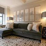 living rooms - gray velvet sectional sofa chaise lounge white gray rug vintage black gold chest white alabaster lamp gray roman shade black white art