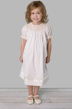 Cotton white dress hand-smocked and embroidery with pearls and ribbon – by Strasburg Children #smocking #smockeddress