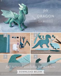 Handmade Felt Dragon Pattern & Tutorial - Lia Griffith Sewing Toys, Sewing Crafts, Sewing Projects, Felt Projects, Sewing Stuffed Animals, Stuffed Animal Patterns, Felt Animal Patterns, Felt Diy, Handmade Felt