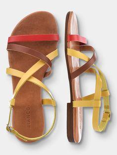 FEMININE STRAP SANDALS, Yellow, large