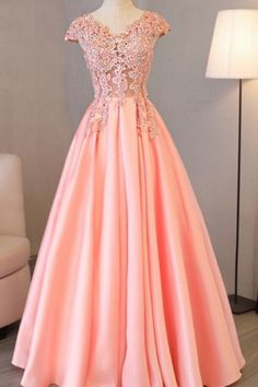 Charming Prom Dress, Cap Sleeve Evening Dresses,Pink Appliques Long Evening Party Dress ,Long Prom G on Luulla Evening Dresses With Sleeves, Chiffon Evening Dresses, Evening Gowns, Evening Party, Long Prom Gowns, Pink Prom Dresses, Formal Dresses, Dress Long, Quinceanera Dresses