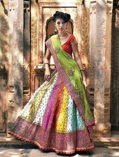 Zari Jaipur. Multicolored lengha.