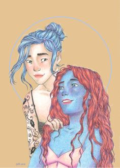 """""""Of all the godspawn out there, in all the worlds, with all their gifts, might there be one who. .. I don't know. Someone who…makes new bodies for souls who need them? What are the chances?""""  """"Out of hundreds of worlds? It would be stranger if there wasn't someone like that out there.""""   Karou and Sarai artwork by jjelliacee Art All The Way, Laini Taylor, Daughter Of Smoke And Bone, Princess Zelda, Disney Princess, Traditional Art, Art Blog, Girl Power, Disney Characters"""