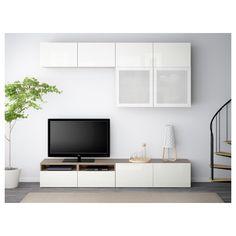 IKEA - BESTÅ TV storage combination/glass doors walnut effect light