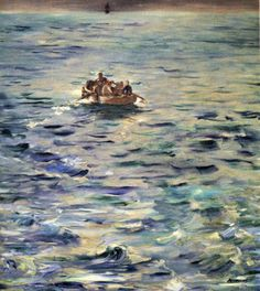 The Escape of Rochefort. Edouard Manet paints the water with impressionistic brushworks, picking up the light and movement.