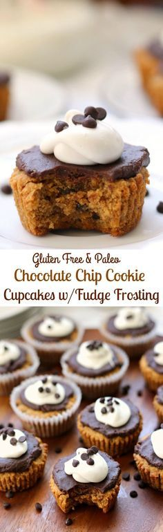 Gluten free, dairy free and Paleo Chocolate Chip cookie cupcakes with chocolate fudge frosting