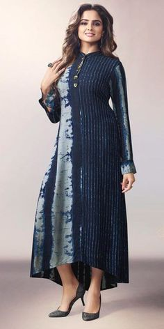 Dashing Blue Georgette Kurti.