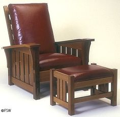Arts and Crafts: Reproduction of Morris Chair with leather back and seat; reclining back, some joinery.