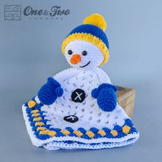 Instant Download - New  PDF Crochet Pattern - Snowman Security Blanket  - Text instructions and SYMBOL Chart instructions