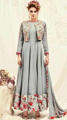 Floral Print Broad Border Grey Anarkali Suit With Short Koti  Koti Suits,Ankle Length Anarkali Suit,Designer Anarkali Suits,Designer Anarkali Suit,Floral Print,Long Kameez,Long Length Anarkali Suit,Long Sleeves,Salwar Kameez,Anarkali, Anarkali Salwar Kameez,Eid collection