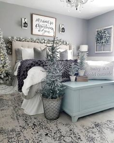 I switched things up in the bedroom today. The good thing about neutral pillows and decor. they can work in any room! Decoration Bedroom, Christmas Decorations For Bedroom, Winter Bedroom Decor, Christmas Bedding, Cozy Bedroom, Bedroom Ideas, Bedroom Inspiration, Bedroom Bed, Modern Bedroom