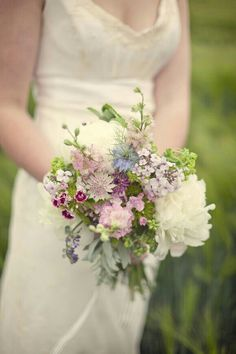 {Romantic Bridal Bouquet Featuring: White Peonies, Green Trick Dianthus, Green Viburnum, Pink Snapdragons, Pink & Purple Astrantia, Blue Nigella, Fuchsia & Light Pink Dianthus, Green Seeded Eucalyptus, & Other Green Foliage················································}
